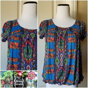 Free People Short Sleeve Peasant Blouse Floral S